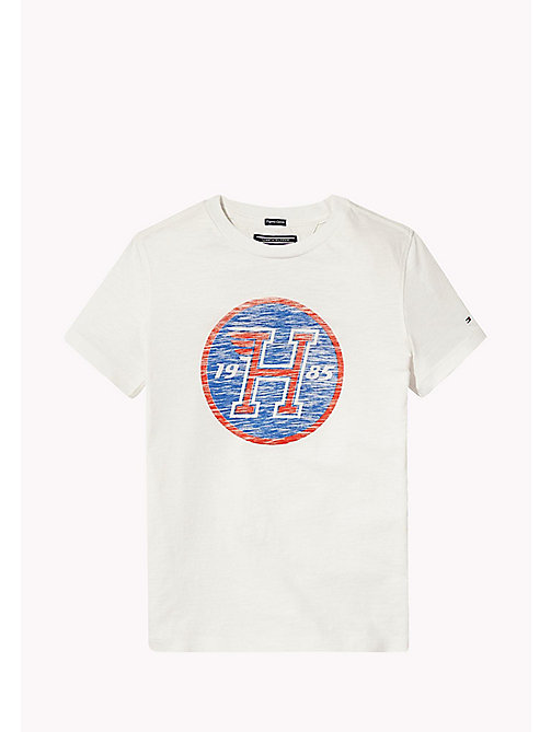 TOMMY HILFIGER Distressed Logo T-Shirt - BRIGHT WHITE - TOMMY HILFIGER T-shirts & Polo - immagine principale