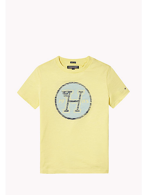 TOMMY HILFIGER Distressed Logo T-Shirt - CUSTARD - TOMMY HILFIGER Jungen - main image