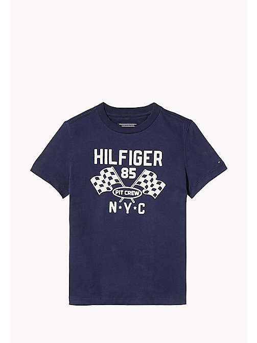 TOMMY HILFIGER Flocked Pit Crew T-Shirt - BLACK IRIS - TOMMY HILFIGER T-shirts & Polos - main image