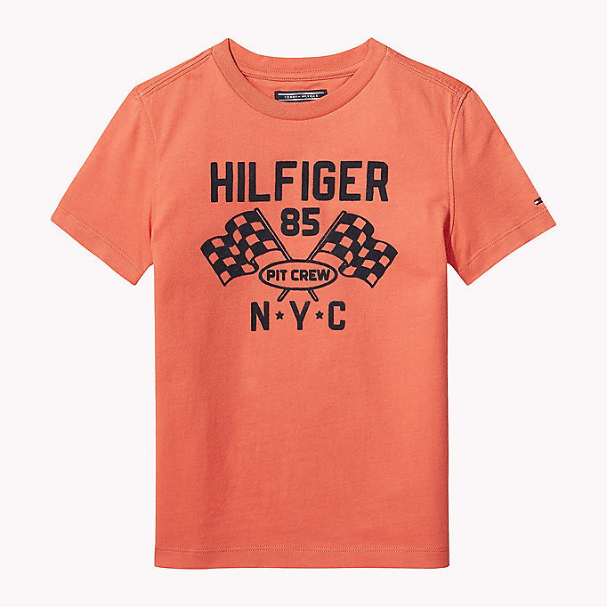 TOMMY HILFIGER Flocked Pit Crew T-Shirt - BLACK IRIS - TOMMY HILFIGER Kids - main image