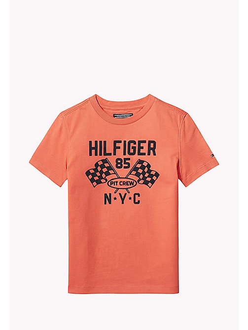 TOMMY HILFIGER Flocked Pit Crew T-Shirt - CAYENNE - TOMMY HILFIGER Bambini - immagine principale