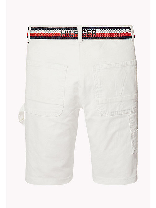 TOMMY HILFIGER Stripe Belted Shorts - BRIGHT WHITE - TOMMY HILFIGER Trousers & Shorts - detail image 1
