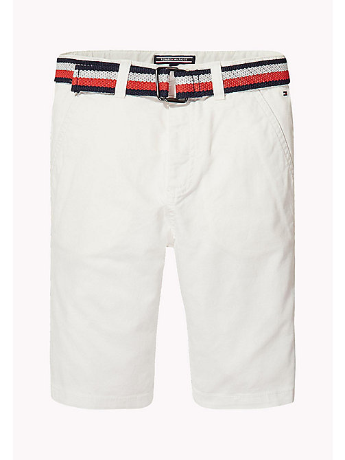 TOMMY HILFIGER Stripe Belted Shorts - BRIGHT WHITE - TOMMY HILFIGER Boys - main image