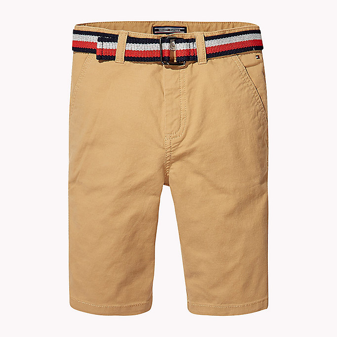 TOMMY HILFIGER Stripe Belted Shorts - BRIGHT WHITE - TOMMY HILFIGER Kids - main image