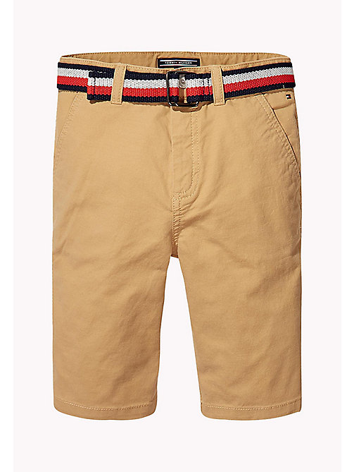 TOMMY HILFIGER Stripe Belted Shorts - TAN - TOMMY HILFIGER Trousers & Shorts - main image