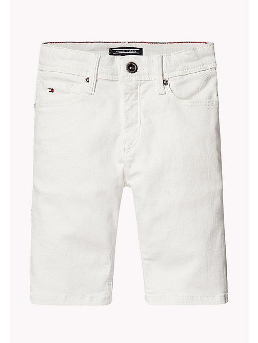 TOMMY HILFIGER Tapered Slim Fit Denim Shorts - BRIGHT WHITE - TOMMY HILFIGER Jongens - main image