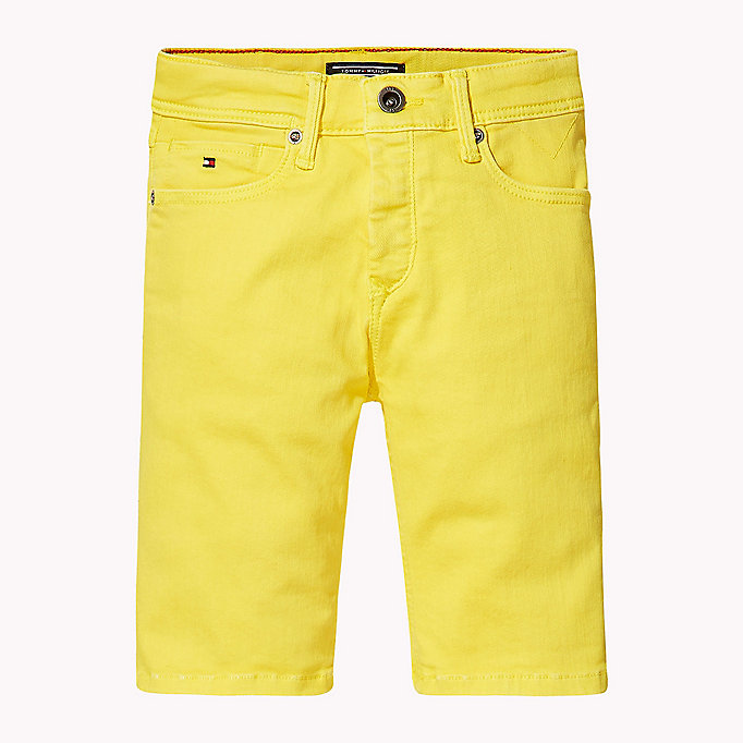 TOMMY HILFIGER Tapered Slim Fit Denim Shorts - BRIGHT WHITE - TOMMY HILFIGER Kids - detail image 1