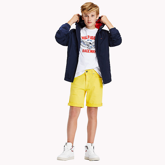 TOMMY HILFIGER Tapered Slim Fit Denim Shorts - BRIGHT WHITE - TOMMY HILFIGER Kids - main image