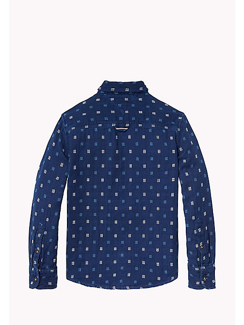 TOMMY HILFIGER Patterned Slub Cotton Shirt - BLACK IRIS - TOMMY HILFIGER Boys - detail image 1