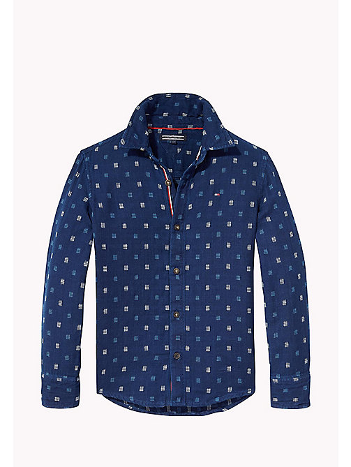 TOMMY HILFIGER Patterned Slub Cotton Shirt - BLACK IRIS - TOMMY HILFIGER Shirts - main image