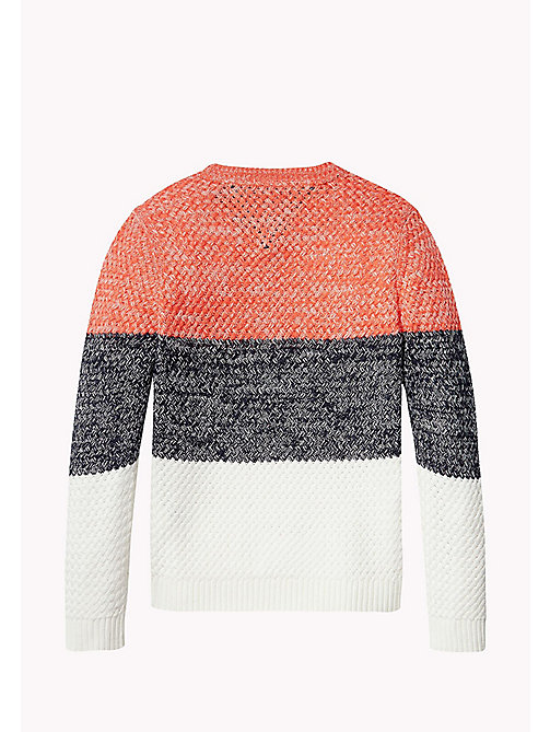 TOMMY HILFIGER Textured Colour-Blocked Jumper - CAYENNE - TOMMY HILFIGER Jumpers & Cardigans - detail image 1