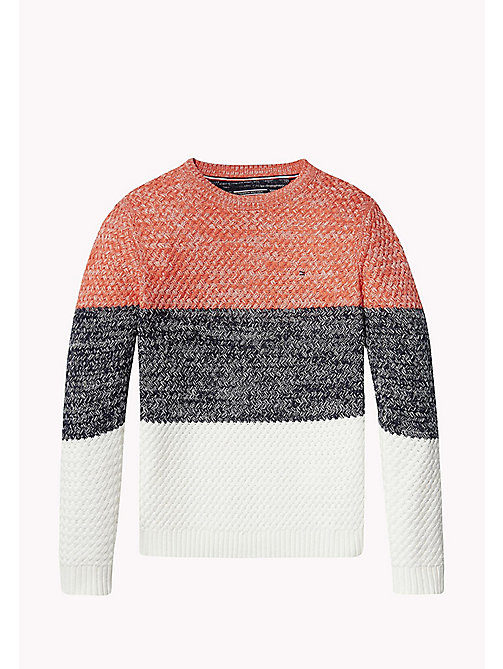 TOMMY HILFIGER Textured Colour-Blocked Jumper - CAYENNE - TOMMY HILFIGER Jumpers & Cardigans - main image