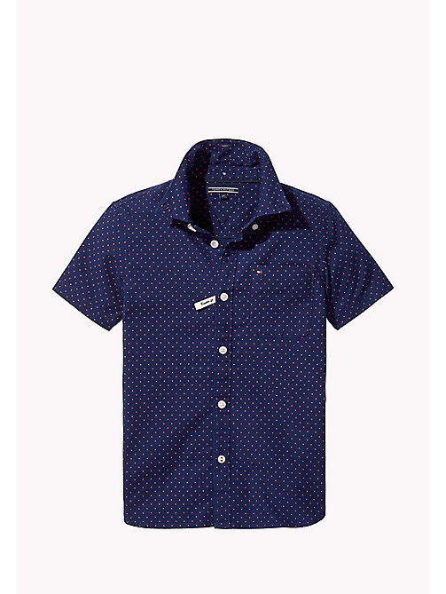 TOMMY HILFIGER Dot Print Short Sleeved Shirt - BLACK IRIS - TOMMY HILFIGER Boys - main image