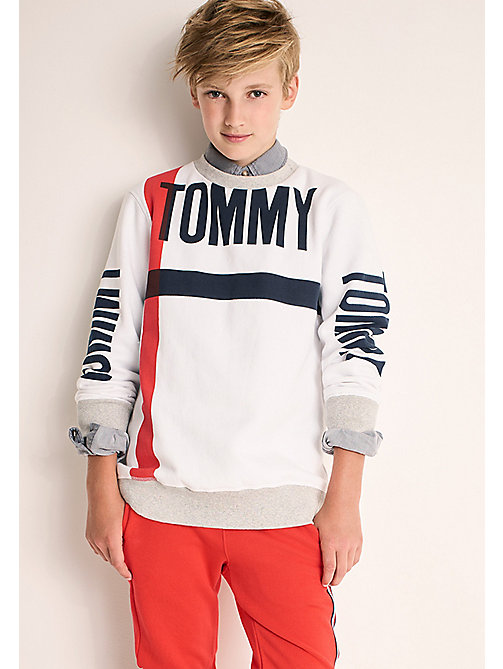 Statement Crew Neck Sweatshirt - BRIGHT WHITE - TOMMY HILFIGER Boys - main image