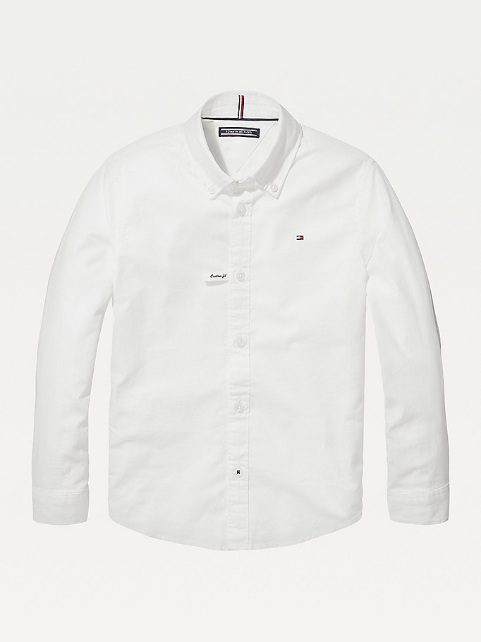 white stretch oxford shirt for boys tommy hilfiger