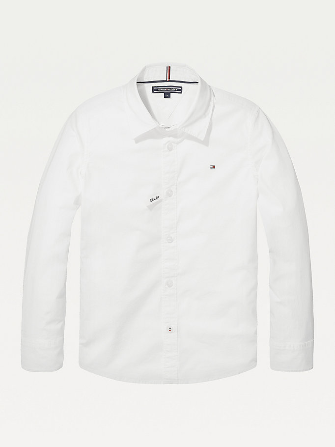 white slim fit stretch shirt for boys tommy hilfiger
