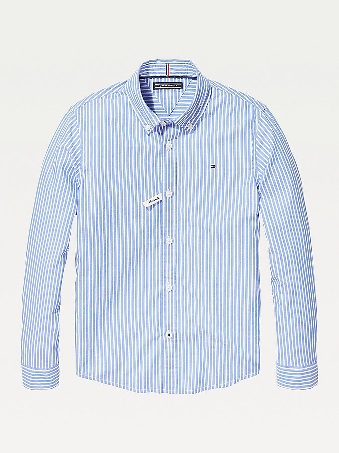 blue stripe oxford shirt for boys tommy hilfiger
