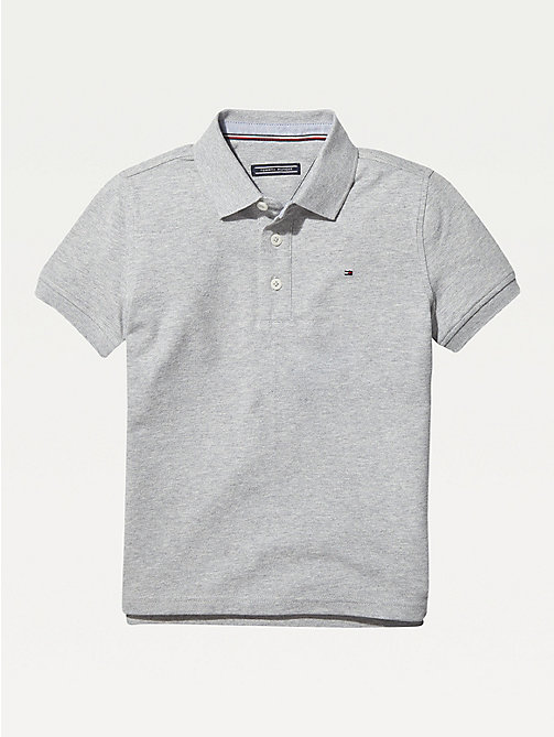 TOMMY HILFIGER Organic Cotton Polo Shirt - GREY HEATHER - TOMMY HILFIGER T-shirts & Polos - main image