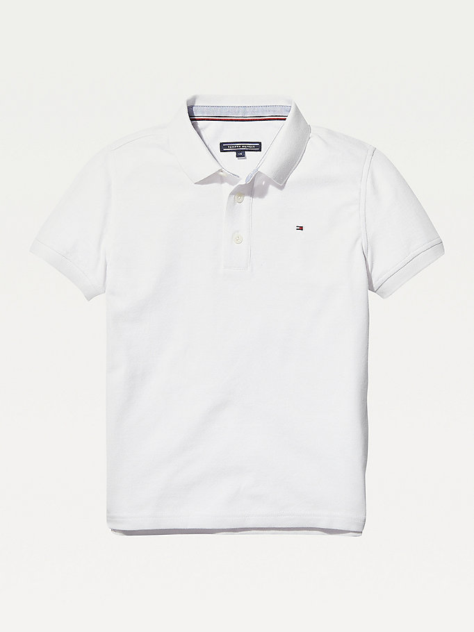 white organic cotton polo shirt for boys tommy hilfiger