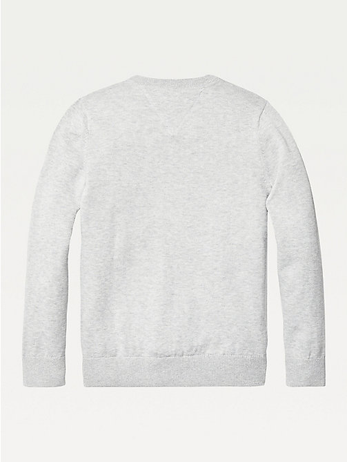 TOMMY HILFIGER Organic Cotton V-Neck Jumper - GREY HEATHER - TOMMY HILFIGER Knitwear - detail image 1