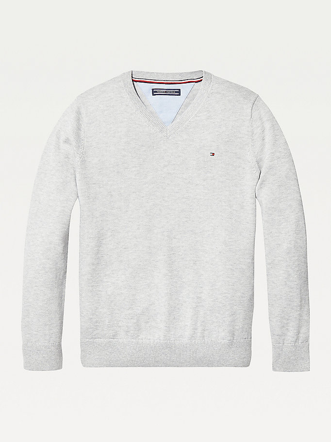 grey organic cotton v-neck jumper for boys tommy hilfiger