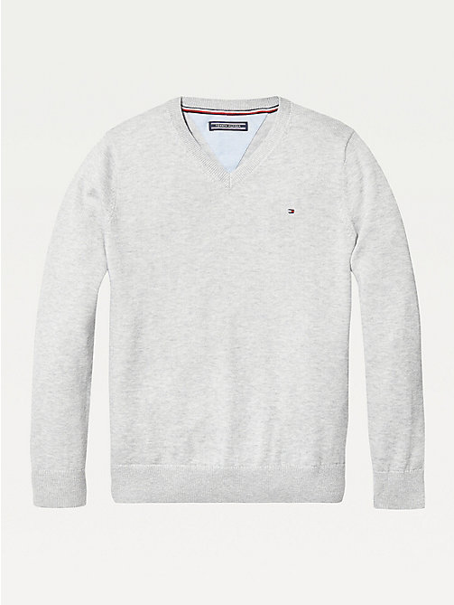 TOMMY HILFIGER Organic Cotton V-Neck Jumper - GREY HEATHER - TOMMY HILFIGER Knitwear - main image