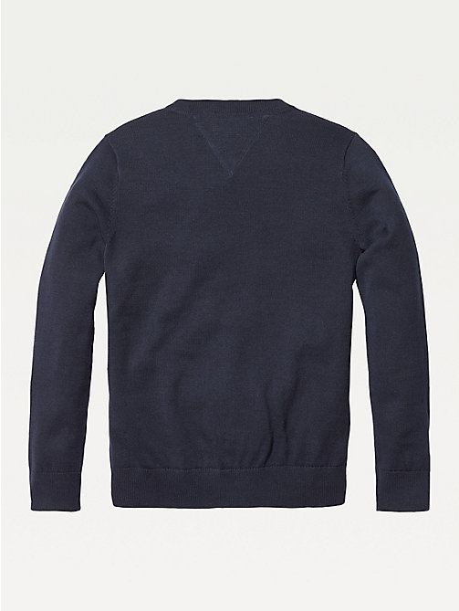 TOMMY HILFIGER Organic Cotton V-Neck Jumper - SKY CAPTAIN - TOMMY HILFIGER Knitwear - detail image 1