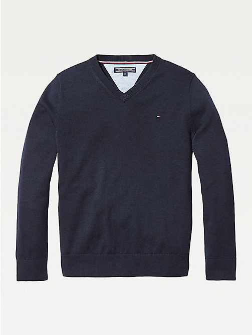 TOMMY HILFIGER Organic Cotton V-Neck Jumper - SKY CAPTAIN - TOMMY HILFIGER Knitwear - main image