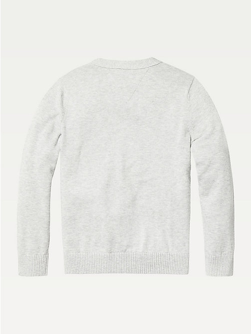 TOMMY HILFIGER Organic Cotton V-Neck Cardigan - GREY HEATHER - TOMMY HILFIGER Knitwear - detail image 1