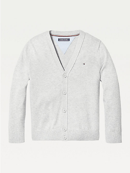 TOMMY HILFIGER Organic Cotton V-Neck Cardigan - GREY HEATHER - TOMMY HILFIGER Knitwear - main image