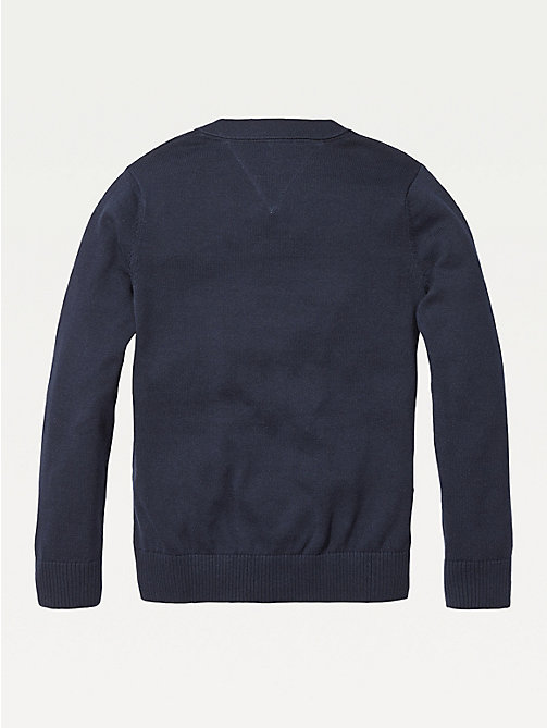 TOMMY HILFIGER Organic Cotton V-Neck Cardigan - SKY CAPTAIN - TOMMY HILFIGER Knitwear - detail image 1