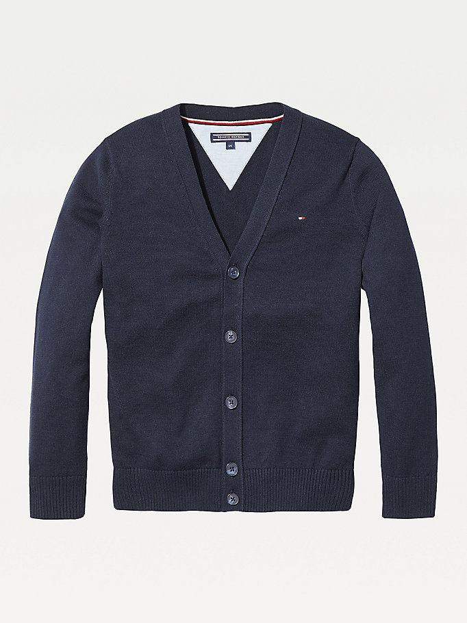 blue organic cotton v-neck cardigan for boys tommy hilfiger
