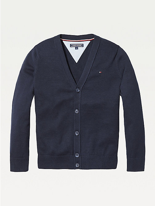 TOMMY HILFIGER Organic Cotton V-Neck Cardigan - SKY CAPTAIN - TOMMY HILFIGER Knitwear - main image