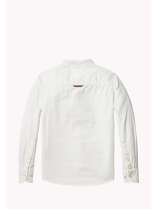 TOMMY HILFIGER Mandarin Collar Cotton Linen Shirt - BRIGHT WHITE - TOMMY HILFIGER Shirts - detail image 1