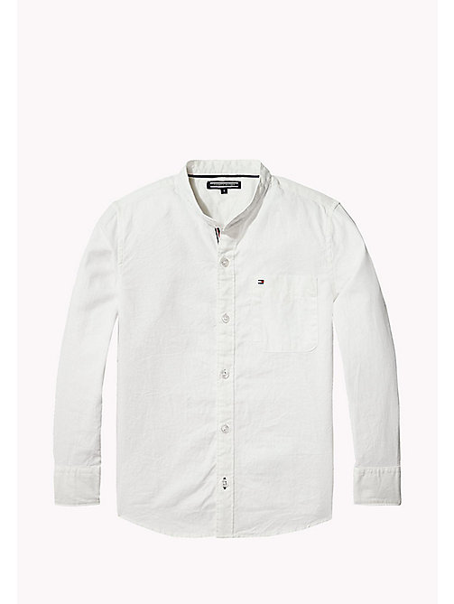 TOMMY HILFIGER Mandarin Collar Cotton Linen Shirt - BRIGHT WHITE -  Shirts - main image