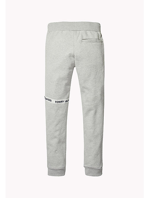 TOMMY HILFIGER Logo-Tape Cotton Jogging Bottoms - LIGHT GREY HTR -  Trousers & Shorts - detail image 1