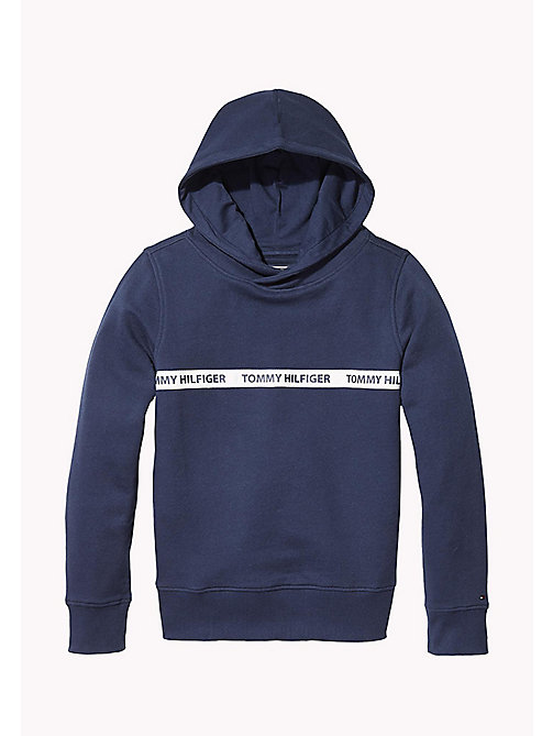 TOMMY HILFIGER Pure Cotton Logo Hoodie - BLACK IRIS - TOMMY HILFIGER Sweatshirts & Hoodies - main image