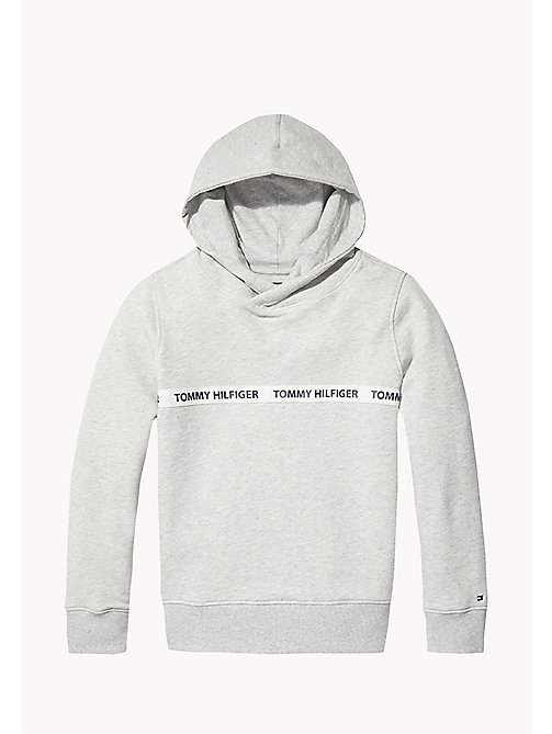 TOMMY HILFIGER Pure Cotton Logo Hoodie - LIGHT GREY HTR - TOMMY HILFIGER Sweatshirts & Hoodies - main image