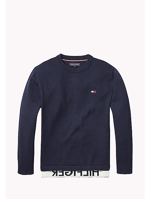 TOMMY HILFIGER Layered Look Crew Neck Jumper - BLACK IRIS - TOMMY HILFIGER Knitwear - main image
