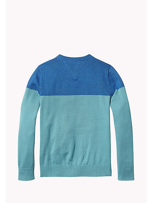 TOMMY HILFIGER Colour-Blocked Logo Jumper - GREEN-BLUE SLATE/BLUE SAPPHIRE - TOMMY HILFIGER Knitwear - detail image 1