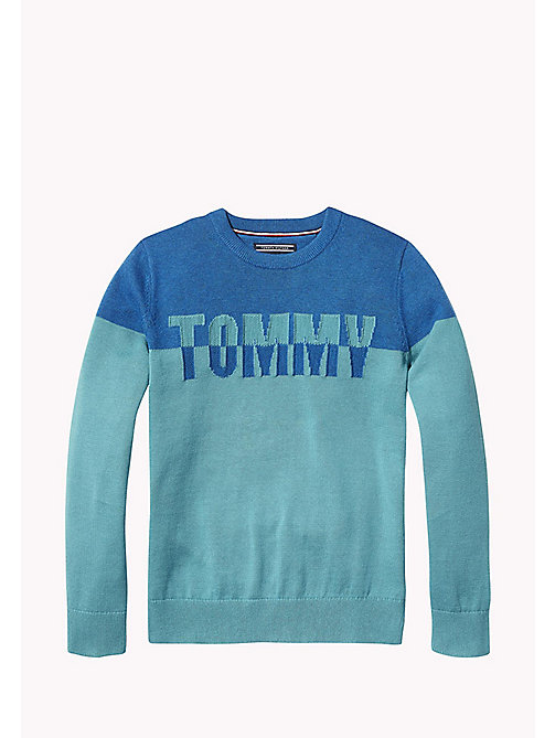 TOMMY HILFIGER Colour-Blocked Logo Jumper - GREEN-BLUE SLATE/BLUE SAPPHIRE - TOMMY HILFIGER Knitwear - main image