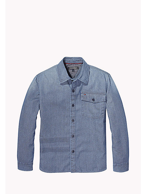 TOMMY HILFIGER Mini Print Denim Shirt - LIGHT BLUE - TOMMY HILFIGER Shirts - main image