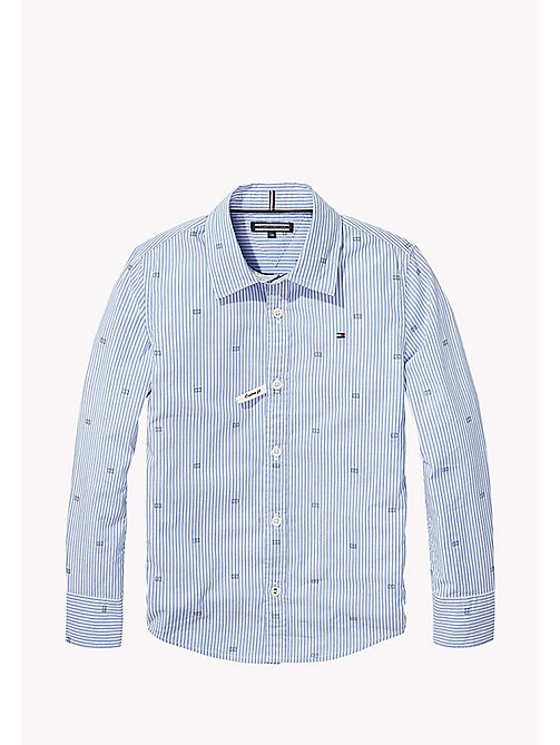 TOMMY HILFIGER Oxford Stripe And Flag Print Shirt - SHIRT BLUE - TOMMY HILFIGER Boys - main image
