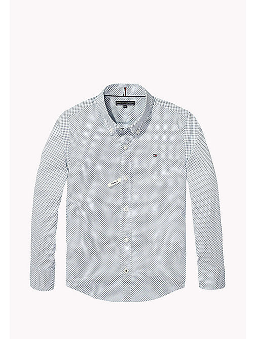 TOMMY HILFIGER Stretch Cotton Print Shirt - BLUE SAPPHIRE/BRIGHT WHITE - TOMMY HILFIGER Shirts - main image