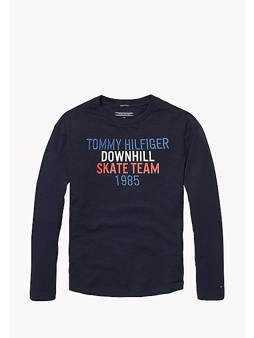 TOMMY HILFIGER Organic Cotton Skater Logo Top - BLACK IRIS - TOMMY HILFIGER T-shirts & Polos - main image