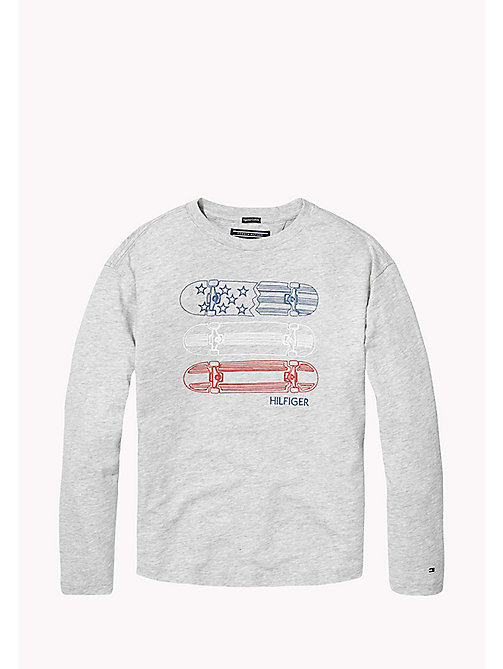 TOMMY HILFIGER Top in cotone biologico con logo skater - LIGHT GREY HTR - TOMMY HILFIGER T-shirts & Polo - immagine principale