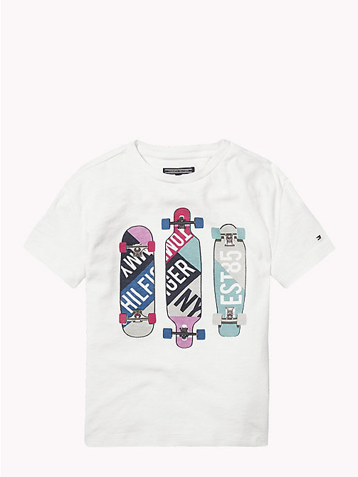 TOMMY HILFIGER Skateboard Graphic Cotton T-Shirt - BRIGHT WHITE - TOMMY HILFIGER Boys - main image