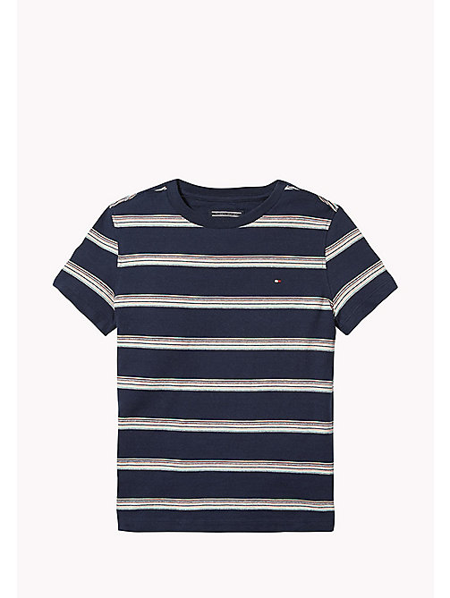 TOMMY HILFIGER Gestreiftes Jacquard-T-Shirt - BLACK IRIS / MULTI - TOMMY HILFIGER T-shirts & Poloshirts - main image