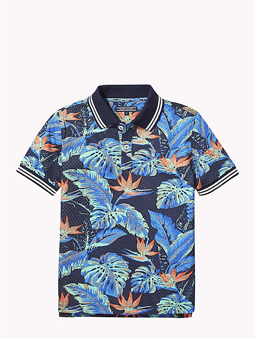 TOMMY HILFIGER Tropical Print Polo Shirt - BLACK IRIS / MULTI - TOMMY HILFIGER Boys - detail image 1