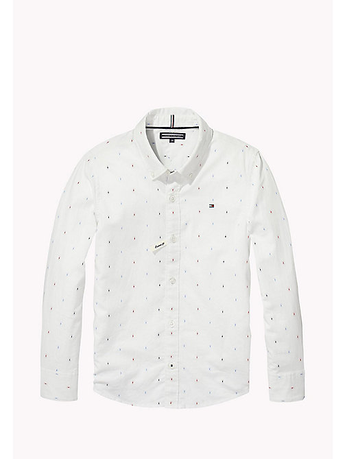 TOMMY HILFIGER Dobby Cotton Shirt - BRIGHT WHITE / MULTI - TOMMY HILFIGER Boys - main image